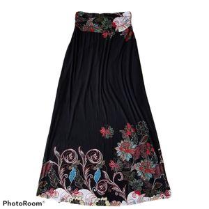 Gilli Knit Boho Maxi Skirt Black Floral Size M